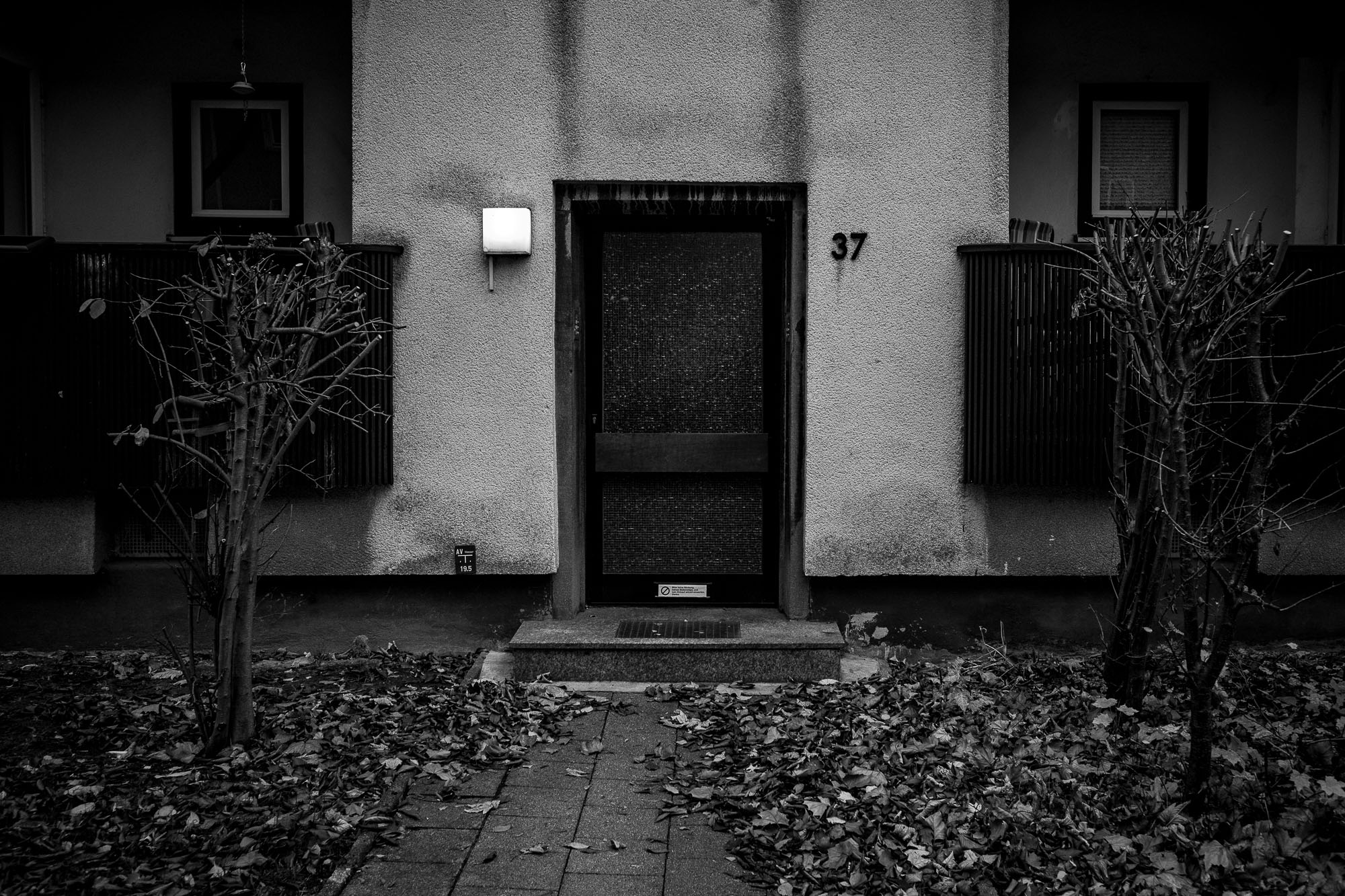 Building entrance, with leaves on the ground, dark