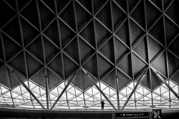 Silhouette figure in King's Cross Station