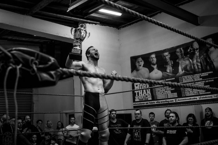 Vinny Vortex shows his academy cup trophy