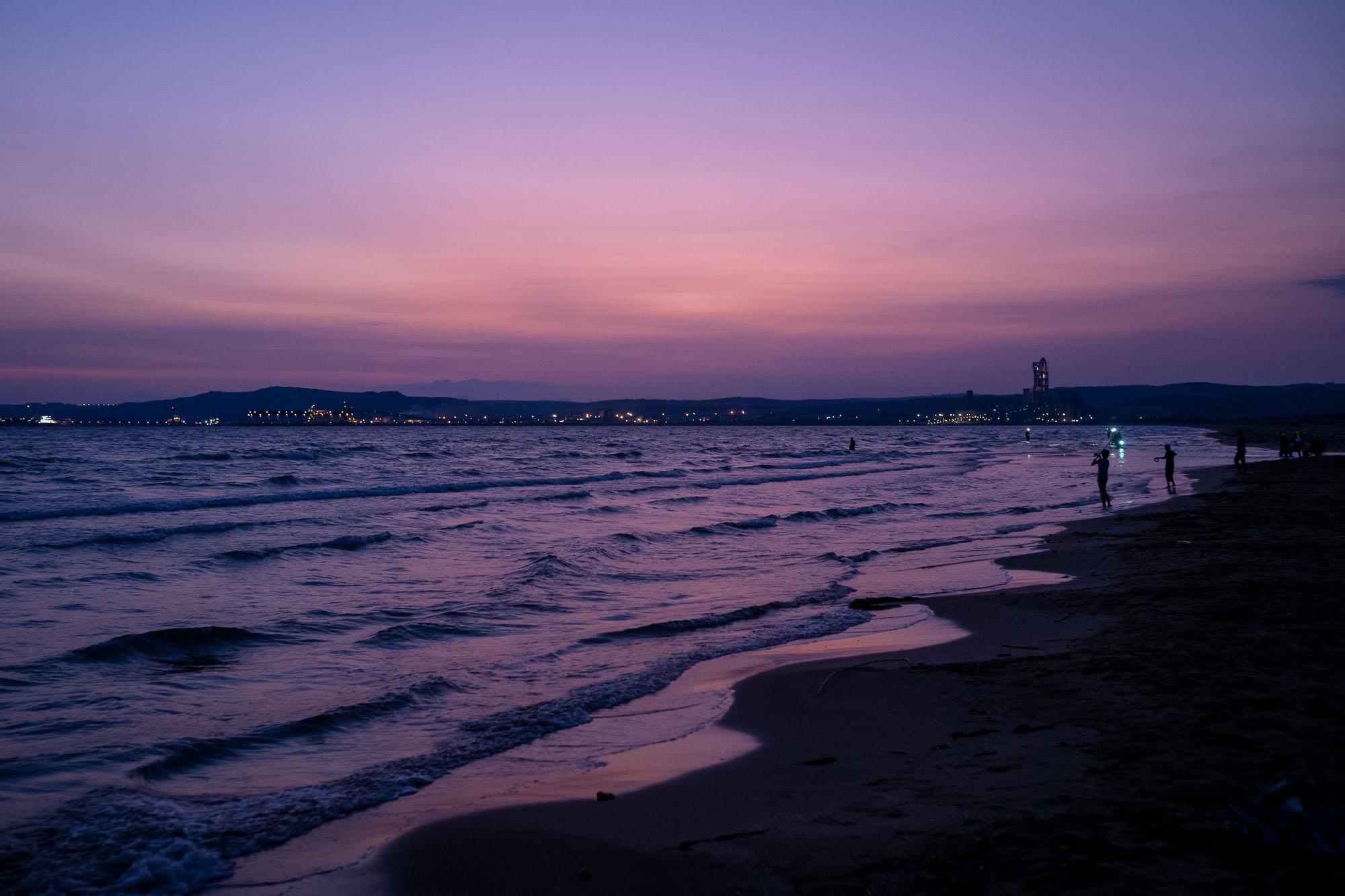 Sunset at Burnaz beach in Hatay, Turkey