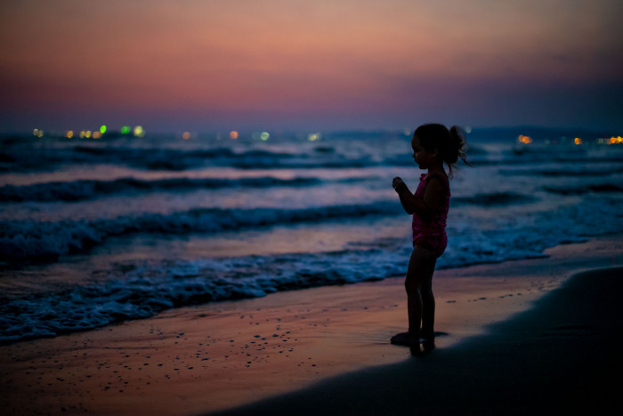 On the beach during sunset