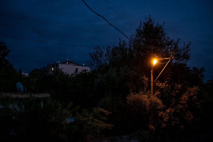 Street light illuminating the neighborhood