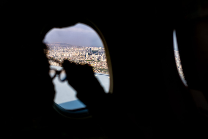 View of Adana, Turkey from above, out of a plane window