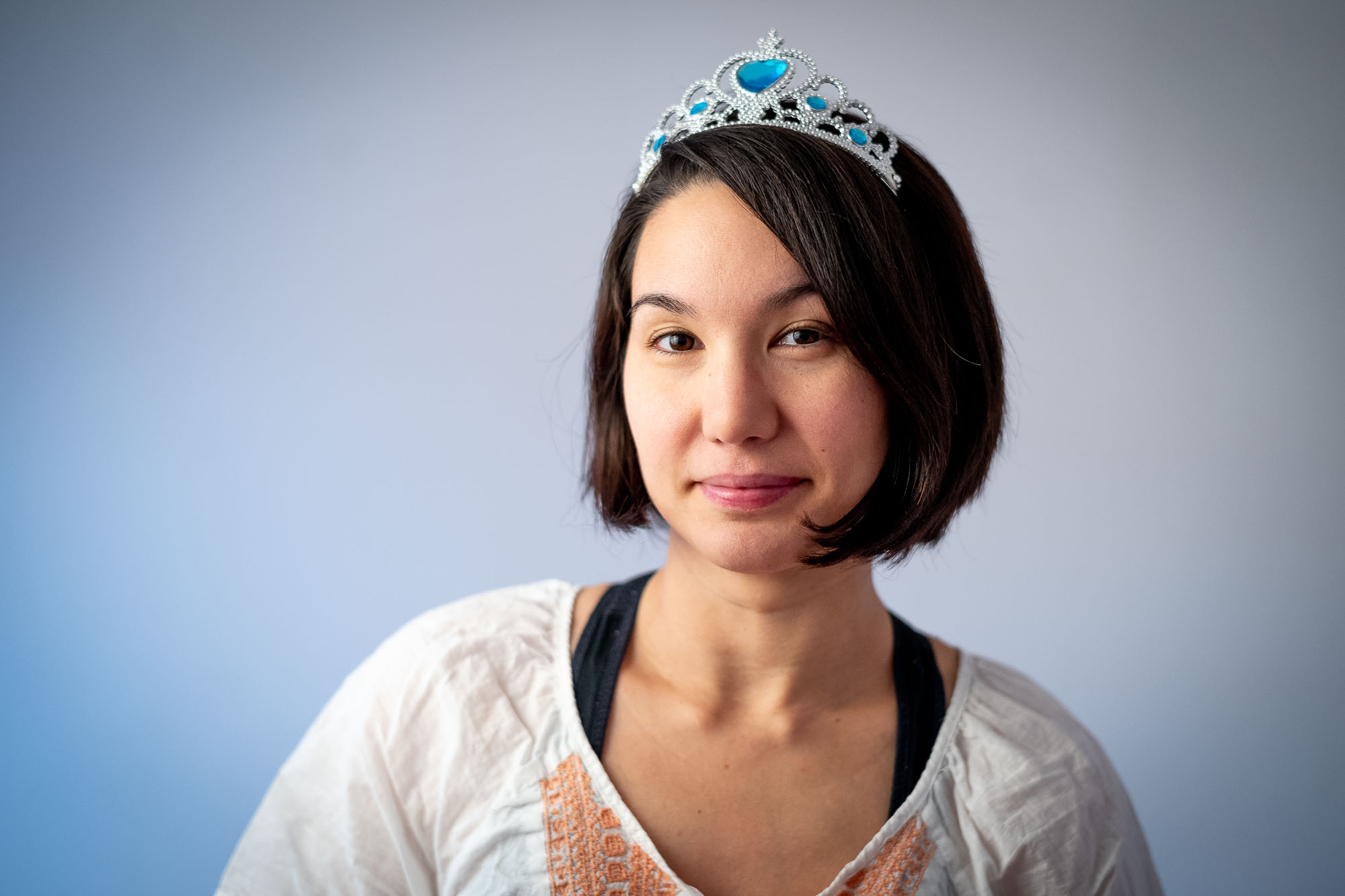 Ulya with our dautgher's Elsa tiara on her head