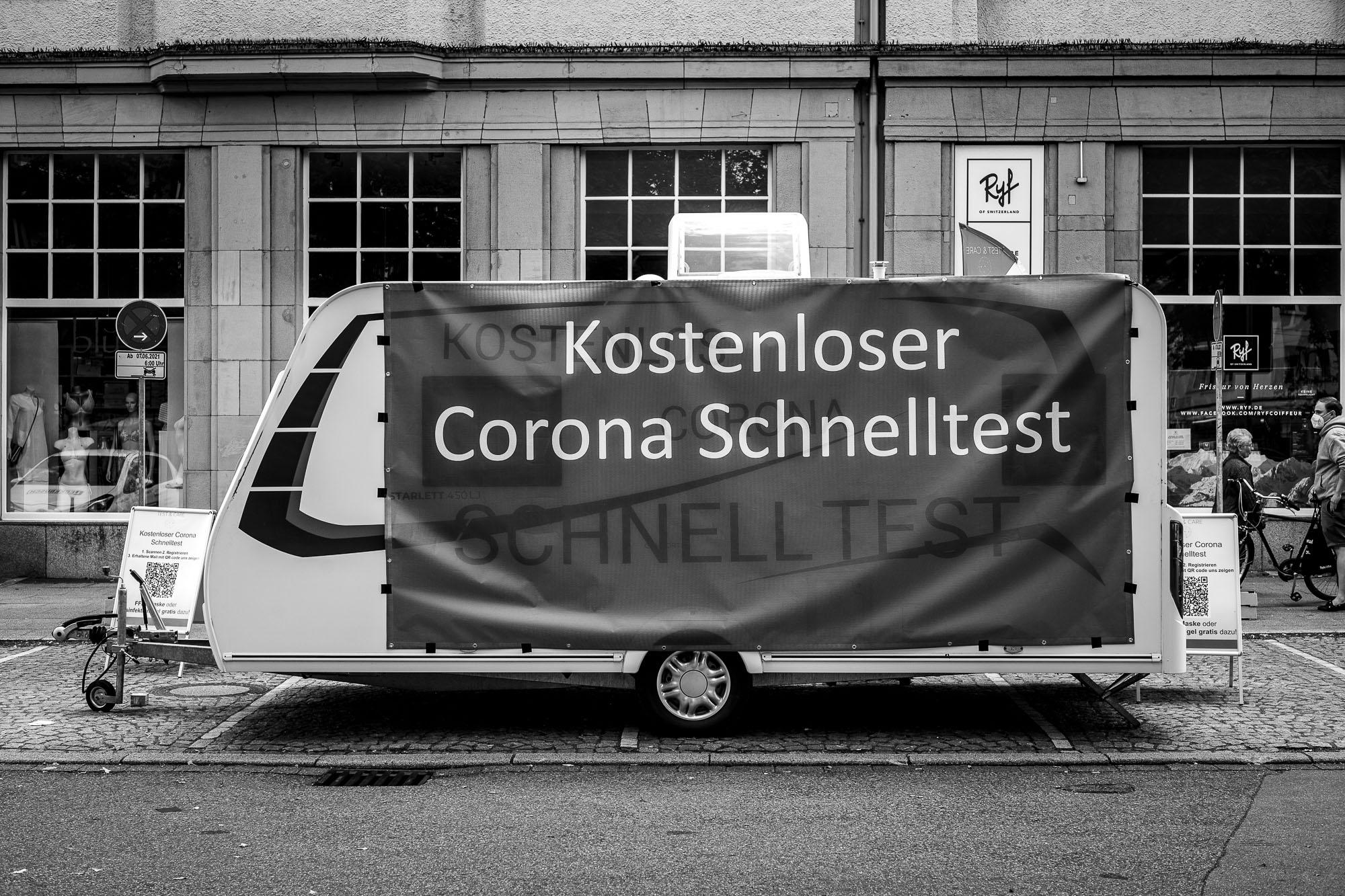 Corona test center inside a caravan