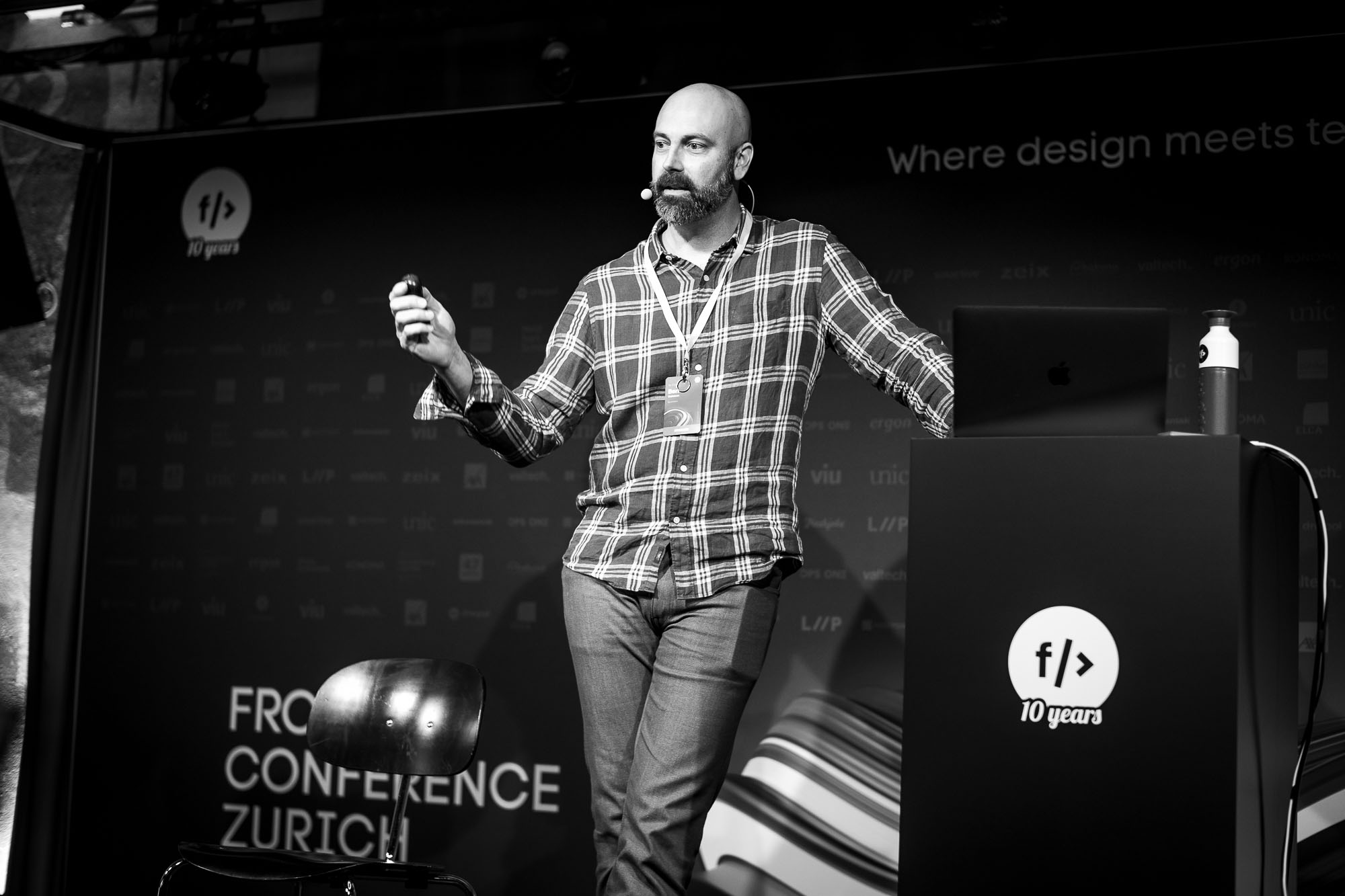 Ben Callahan on stage at Front Conference 2021