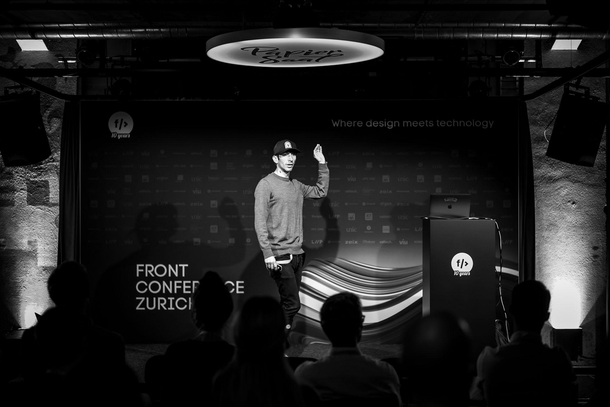 Dan Nessler on stage at Front Conference 2021