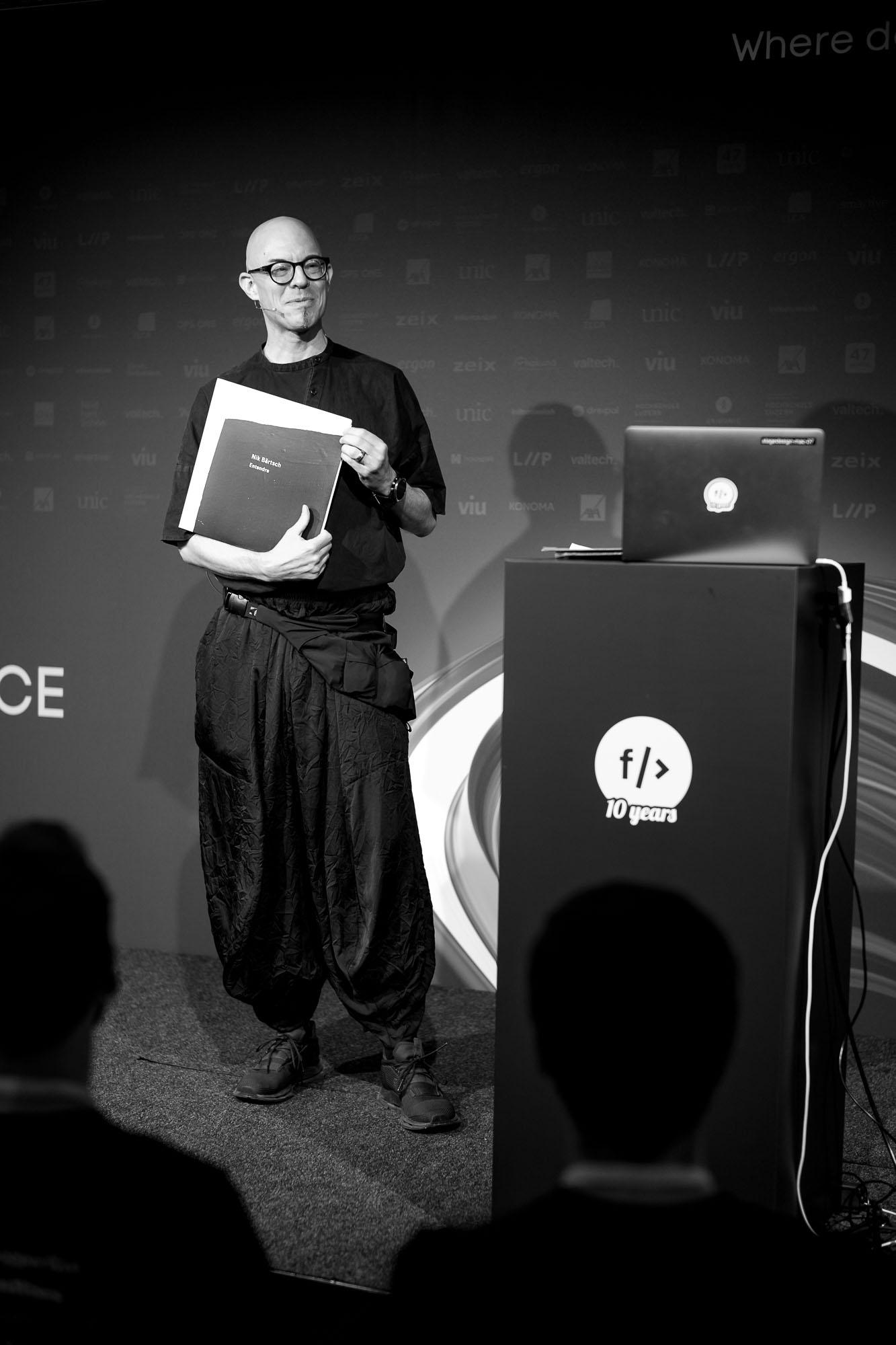 Nik Bärtsch on stage at Front Conference 2021