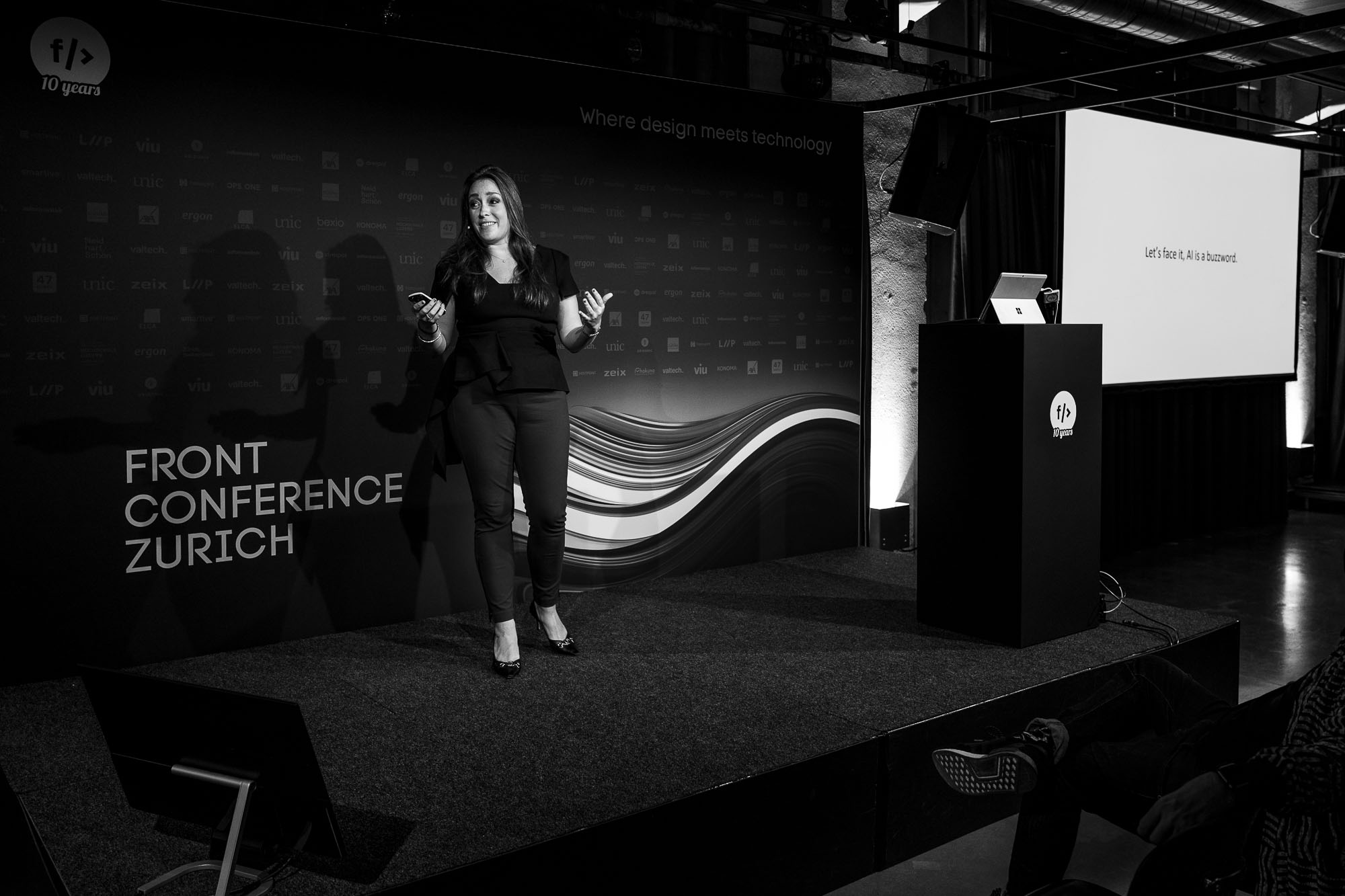 Emily Sappington on stage at Front Conference 2021