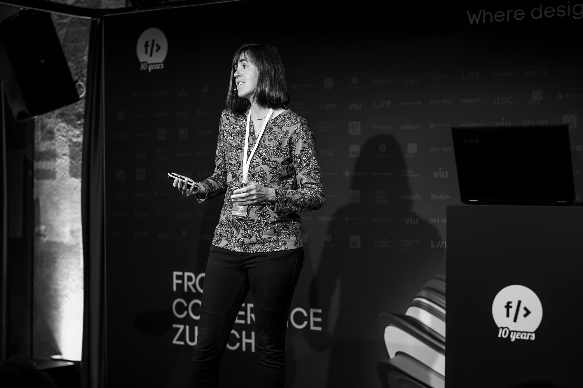 Angela Trego on stage at Front Conference 2021