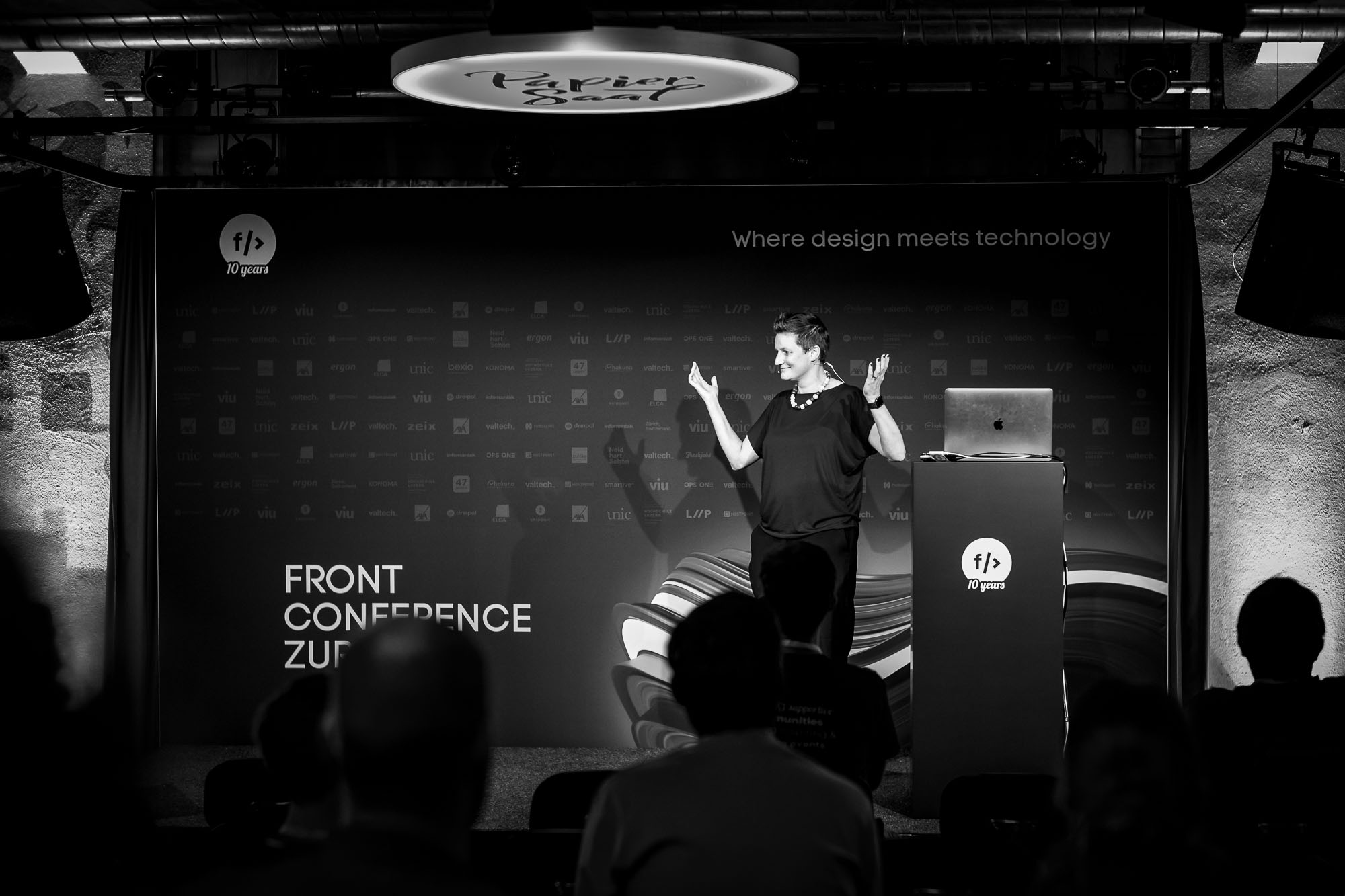 Angie Born on stage at Front Conference 2021