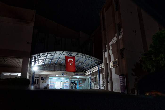 Hospital with the Turkish flag hanging above the entrance